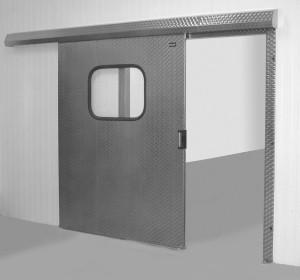 Industrial sliding door with glass
